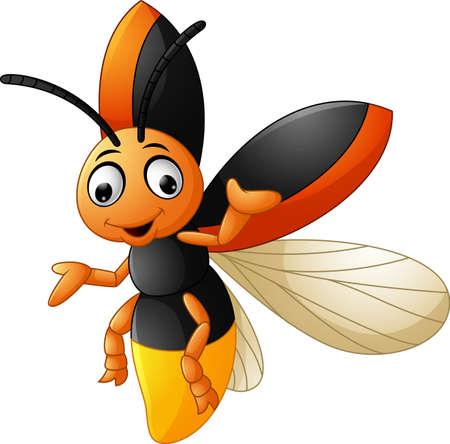 Cute firefly cartoon waving  イラスト・ベクター素材