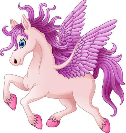 Cartoon pony horse posing isolated on white background
