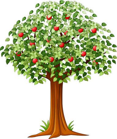 Verde del manzano lleno de manzanas rojas aisladas