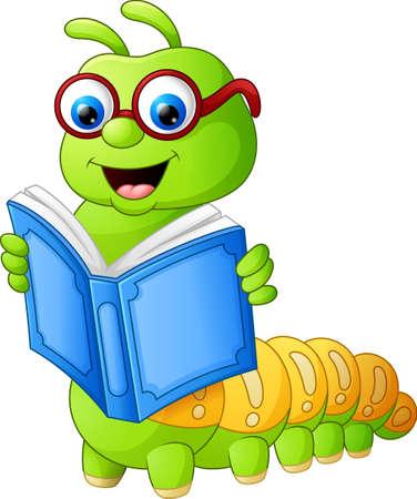 Libro de lectura de la oruga Foto de archivo - 62047008