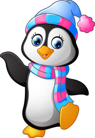 Penguin use a shawl and hat cap