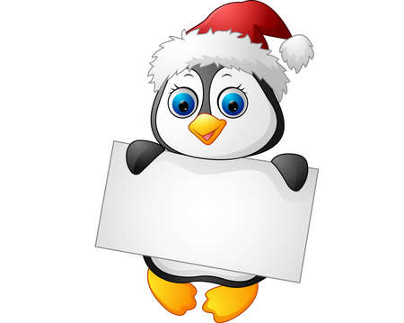 cartoon banner: Cute little penguin holding blank sign