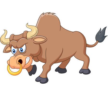 enraged: Angry bull cartoon