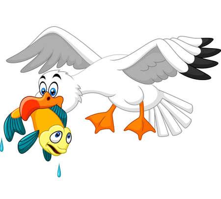 Cartoon seagull eating fish Illustration
