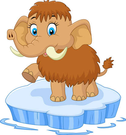 lovable: vector illustration of Cute mammoth cartoon