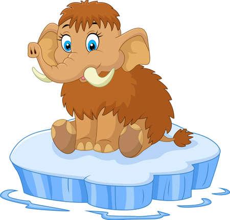 Cute mammoth cartoon Illustration