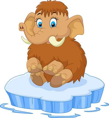 wooly mammoth: Cute mammoth cartoon Illustration