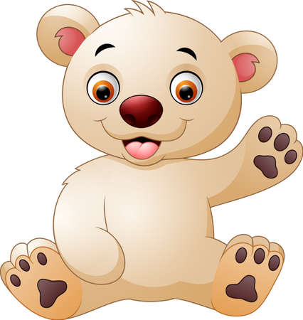 cute bear: Cute baby bear waving hand