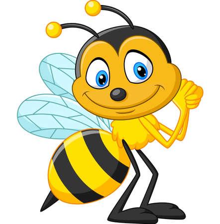 幸せな蜂漫画  イラスト・ベクター素材