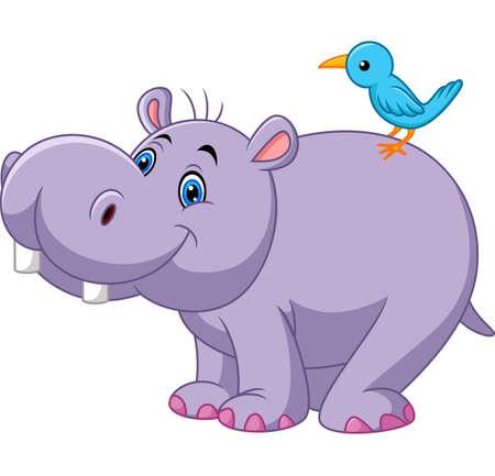 Cartoon funny hippo with bird