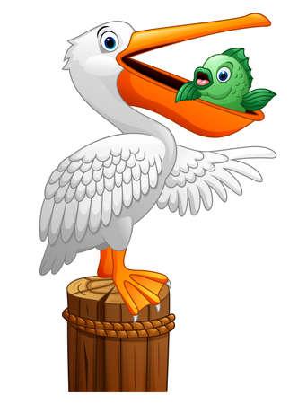wharf: Pelican eating fish Illustration