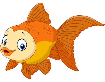 brilliant   undersea: Vector illustration of Cute cartoon golden fish Illustration