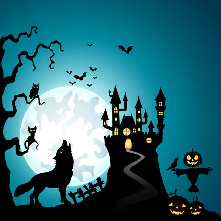 Halloween nacht achtergrond met wolven en spookkasteel Vector Illustratie