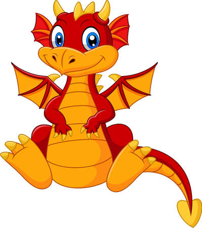 Vector illustration of Cartoon baby red dragon