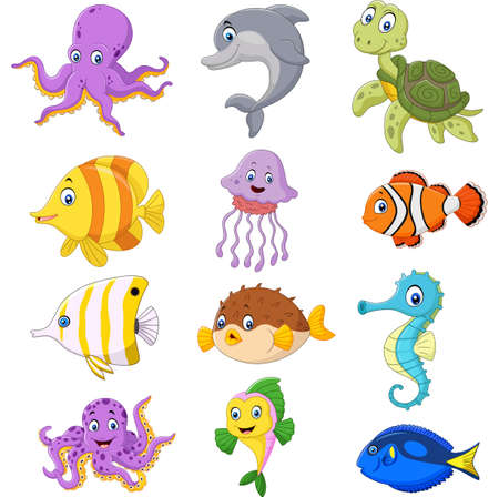 Vector illustration of Cartoon sea life collection