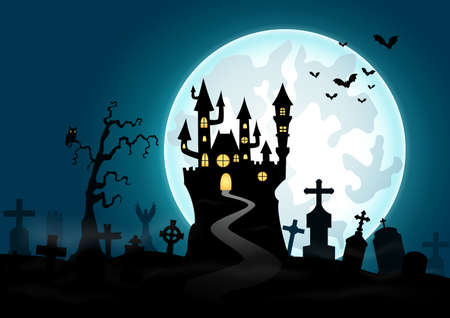 moon  owl  silhouette: Vector illustration of Halloween background with haunted house and graveyard Illustration