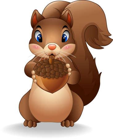Vector illustratie van Cartoon grappige eekhoorn deelneming dennenappel Vector Illustratie