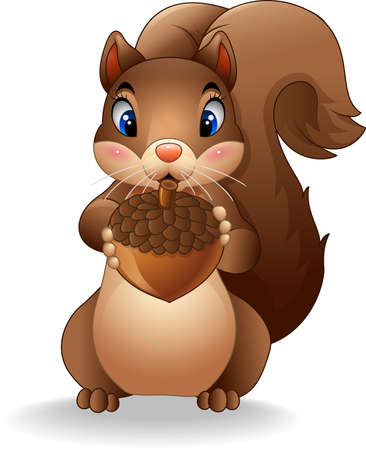 downy: Vector illustration of Cartoon funny squirrel holding pinecone