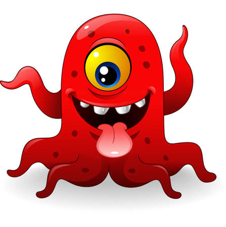 dungeon: Vector illustration of Cartoon funny red monster