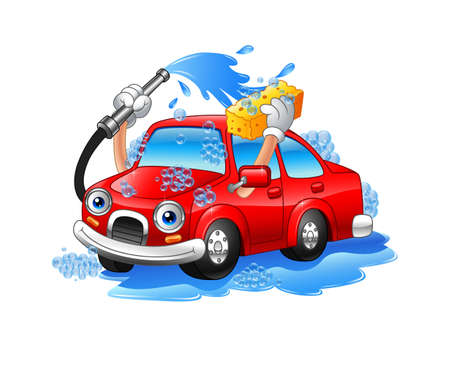 Vector illustration of Cartoon funny car washing with water pipe and sponge Illustration