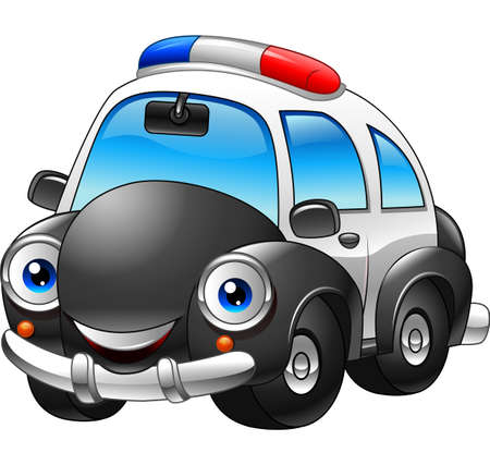 Vector illustration of Cartoon police car character