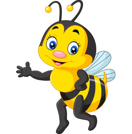 presenting: Vector illustration of Happy bee presenting cartoon Illustration