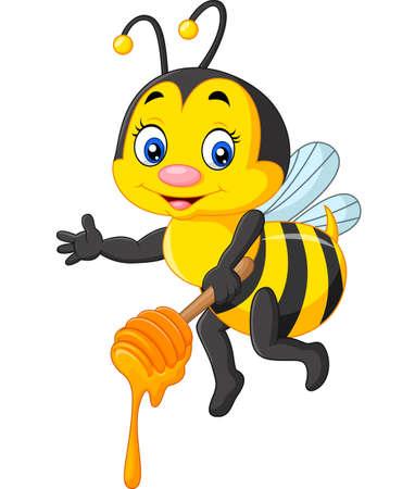 Vector illustration of Cute bee holding honey Stock Illustratie
