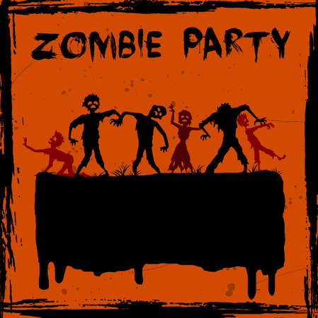 Vector illustration of Zombie party background Illustration