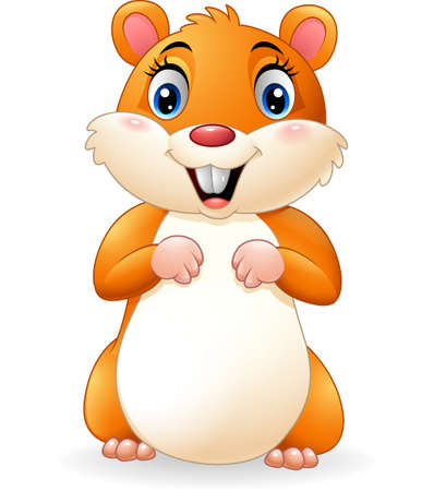 Cartoon smiling hamster Ilustracja