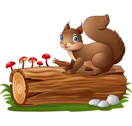 tree log: Cartoon squirrel on tree log isolated on white background Illustration