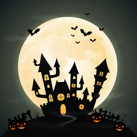 moon shadow: Halloween night background with the castle and full moon Illustration