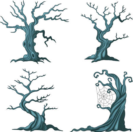 a bough: Dead tree collection set isolated on white Illustration