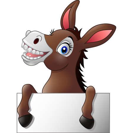 funny donkey: Funny donkey with blank sign Illustration