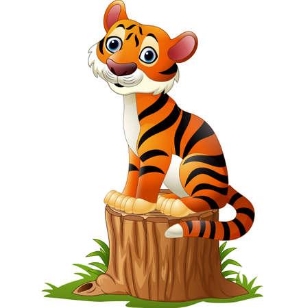 tigress: Cartoon tiger sitting on tree stump
