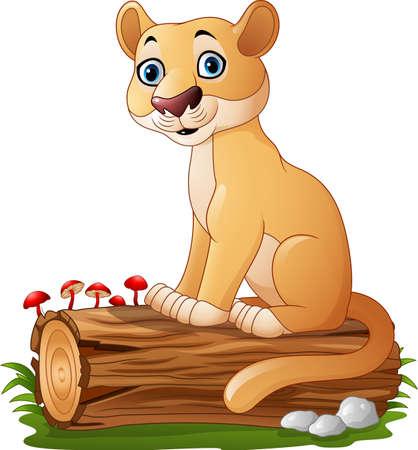 tree log: Cartoon feline sitting on tree log
