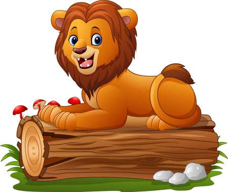 Cartoon lion sitting on a tree log Illustration