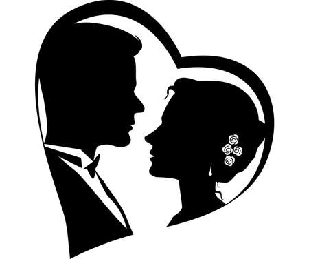 married couples: Silhouettes of loving couple Illustration