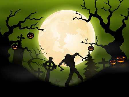 dead tree: Halloween background with zombie in graveyard Illustration
