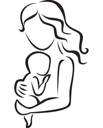 mother baby: Illustration of mother and baby icon