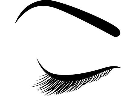 Beautiful closed eye with long eyelashes icon Illustration