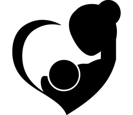 Mother breastfeeding her baby symbol