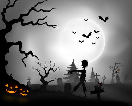 Halloween night background with zombie walking, pumpkins and full moon