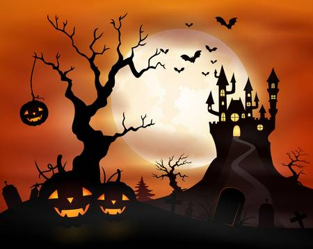 Halloween night background with castle and pumpkins