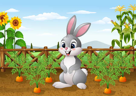 vector illustration of Cartoon rabbit with carrot plant in the garden