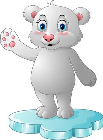 floe: illustration of Cartoon polar bear standing on floe
