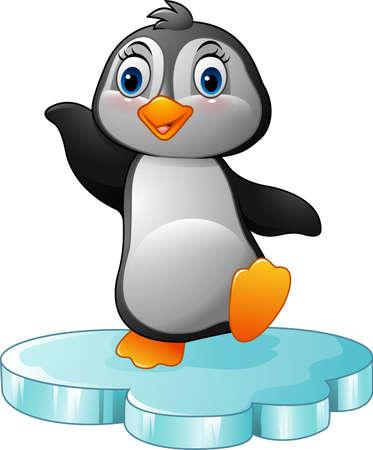 floe: illustration of Cartoon penguin standing on floe Illustration