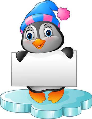 cartoon banner: illustration of Cute little penguin holding blank sign Illustration