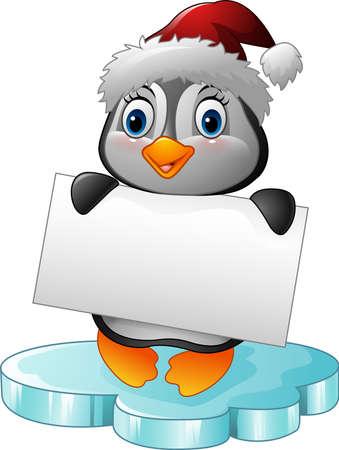 floe: illustration of Cartoon little penguin holding blank sign