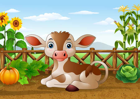 vector illustration of Cartoon cow sitting in the farm