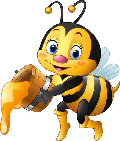 vector illustration of Cartoon bee holding bucket with honey dripping
